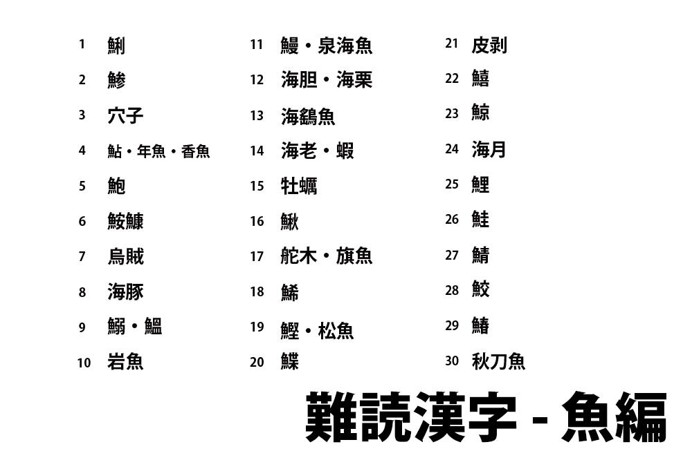魚の難読漢字一覧と無料クイズ プリント|高齢者の脳トレ&レクリエーション