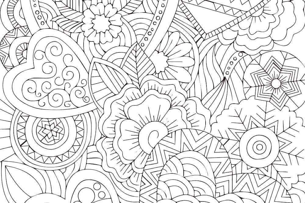 大人の塗り絵 花と蝶 無料プリント高齢者の脳トレ